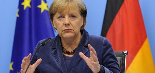 German Chancellor Angela Merkel gestures