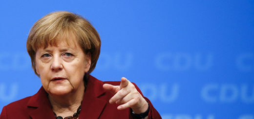 German Chancellor and leader of the CDU Merkel gestures during the second day of the CDU party congress in Karlsruhe