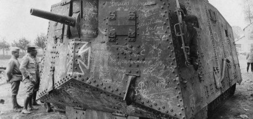 ca. 1916-1918, Villers-Bretonneux, France --- Officers look over a German A7V tank captured at Villers-Bretonneux, France, during World War I. --- Image by © Bettmann/CORBIS