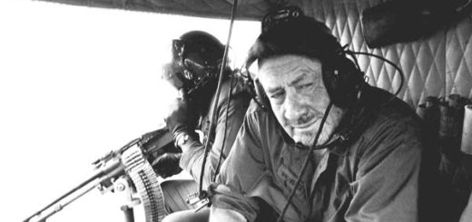 John Steinbeck in an Army helicopter on Dec. 17, 1966 in Vietnam over the central Vietnamese Highlands.