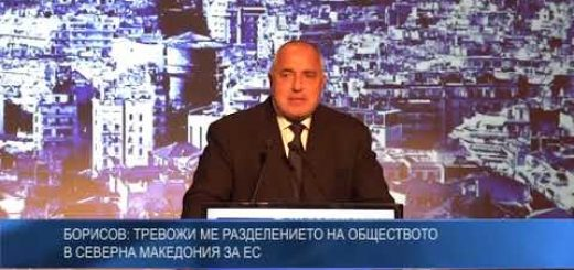 Борисов: Тревожи ме разделението на обществото в Северна Македония за ЕС