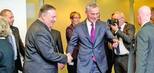 Left to right: Mike Pompeo (US Secretary of State) and NATO Secretary General Jens Stoltenberg