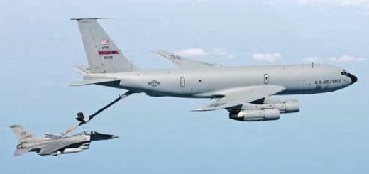 FILE PHOTO -- A KC-135 Stratotanker refuels an F-16 Fighting Falcon.  Air Force Secretary Dr. James G. Roche concluded testimony before the Senate Armed Services Committee on Sept. 4.  He answered questions about the 2004 Air Force Tanker Lease Proposal, which would replace ageing KC-135s leased KC-767s.  (U.S. Air Force photo by Tech. Sgt. Mike Buytas)