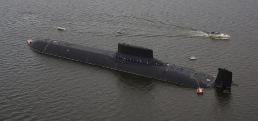 An aerial view shows the Russian nuclear submarine Dmitry Donskoy moored on the eve of the the Navy Day parade in Kronshtadt, a seaport town in the suburb of St. Petersburg, Russia, July 28, 2017. REUTERS/Anton Vaganov