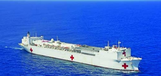 Coast Guard helicopter crew conducts overflights of USNS Comfort
