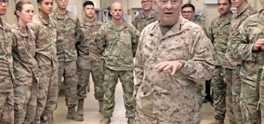 Marine General Kenneth McKenzie speaks with U.S. troops while visiting Forward Operating Base Fenty in Jalalabad, Afghanistan